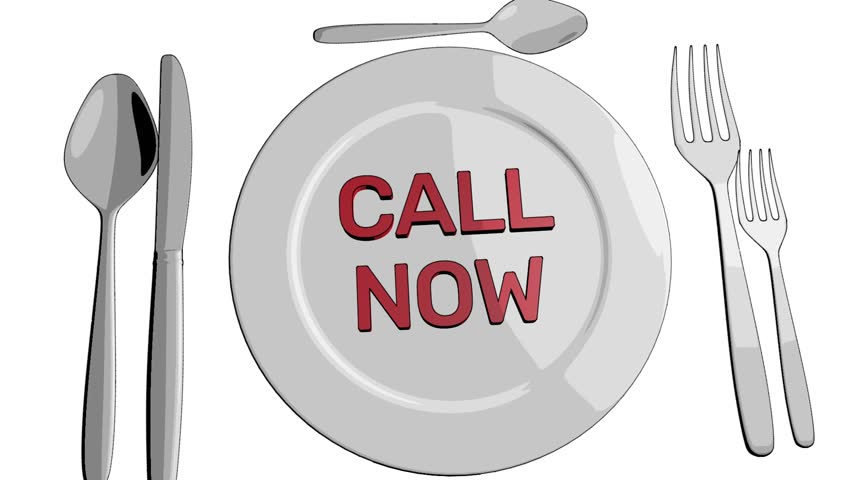 call now to order food take away cartoon clip