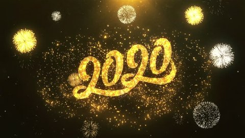 Happy New Year 2020 Greeting Card text Reveal from Golden Firework & Crackers on Glitter Shiny Magic Particles & Sparks Night star sky for Celebration, Wishes, Events, Message, holiday, festival