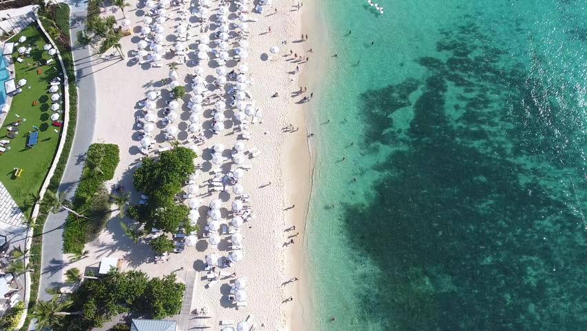 Grand Cayman Beach Aerial View. 7 Mile Beach Drone