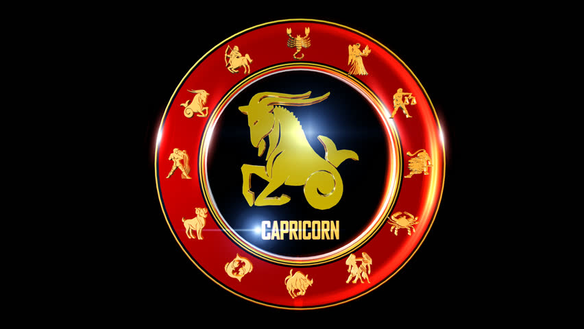 Capricorn  Zodiac sign   It`s Nice rotating 3d golden Zodiac sign (Indian astrology) with transparency