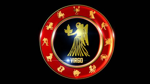 VIRGO Zodiac sign   It`s Nice rotating 3d golden Zodiac sign (Indian astrology) with transparency