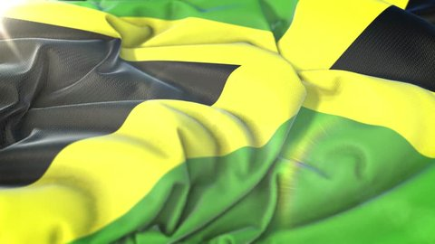 Jamaica flag.Flag of Jamaica Beautiful 3d animation of Jamaica flag in loop mode.