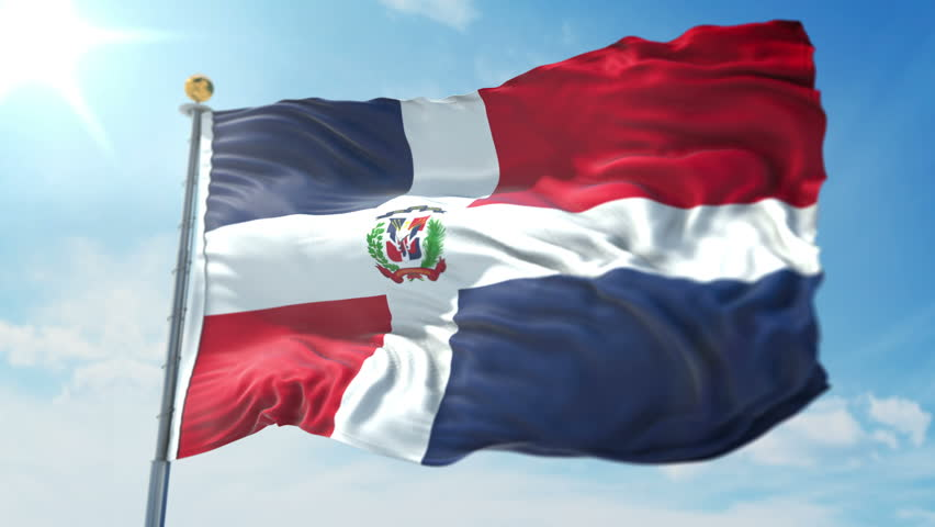 Dominican Republic flag seamless looping 3D rendering video. 3in1:includes isolated on green screen and alpha channel as luma matte for easy clipping in AE. Beautiful fabric loop waving in the wind