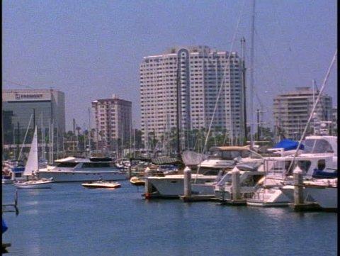LOS ANGELES, 1999, Marina del Rey, Yacht basin, sailboat passes, Marina Towers
