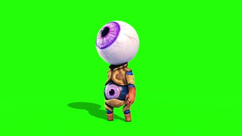 Monster Eye Man Look Around Green Screen Front 3D Renderings Animations