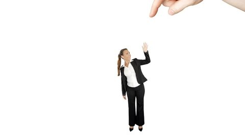 Recruiting male hand picks up a new female employee