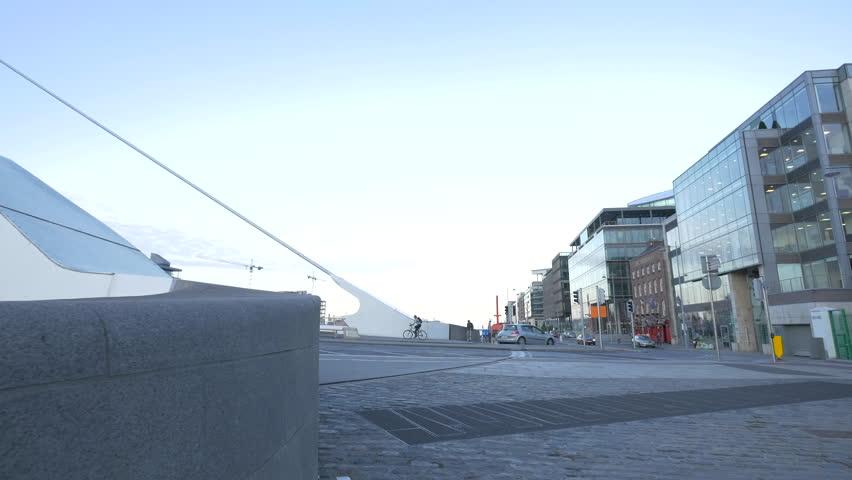 Dublin, Ireland - May, 2016: The corner of the Samuel Beckett Bridge in Dublin | Shutterstock HD Video #1011669191