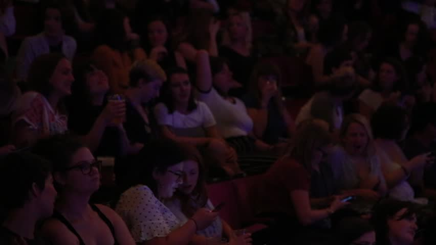 London, England - May 24, 2018: Footage of a full house audience of 2500 people at a sold  out show in a large west end theatre.