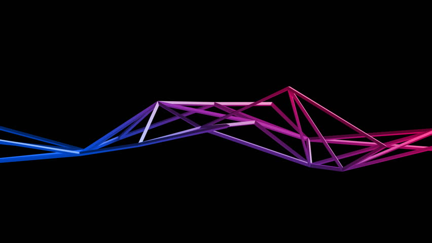 Abstract 3d rendering of geometric shape. Cgi loop animation with lines. Modern background with polygonal structure. Seamless motion design for poster, cover, branding, banner, placard. 4k UHD