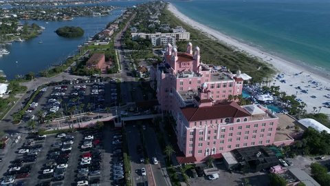 Drone Aerial view over Florida Tampa Bay The Don CeSar Hotel St. Pete Beach USA