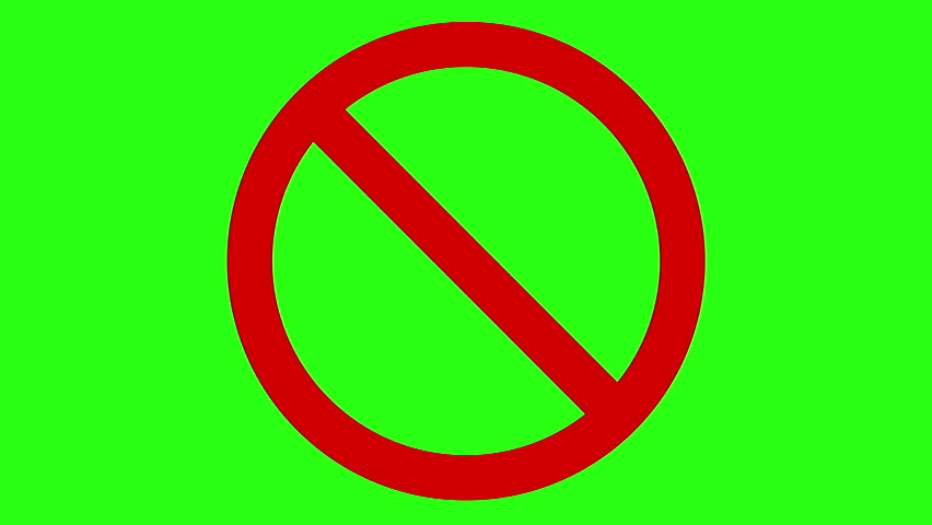 International Prohibition Sign No Symbol Cg Animation On Green Screen Seamless Loop