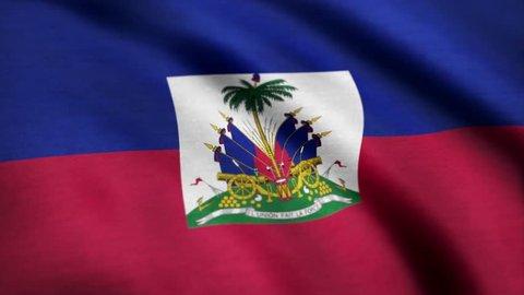 Flag Of Haiti Background Seamless Loop Animation. Flag of Haiti waving in the wind. Seamless looping