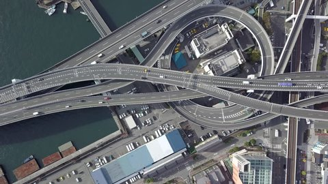 Top view over the highway, expressway and motorway, Aerial view interchange of Osaka City, Osaka, Kansai, Japan.