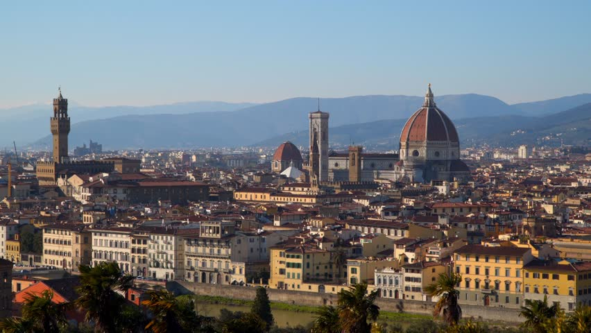 Florence Cathedral (Cattedrale di Santa Maria del Fiore) in historic center of Florence, Italy . Panoramic view of the city. Florence Cathedral is the major tourist attraction of Tuscany, Italy. | Shutterstock HD Video #1011822041