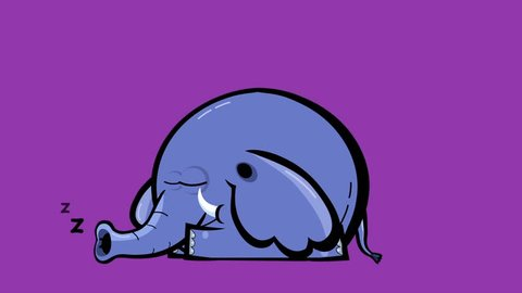 Cartoon elephant seamless transitions character with alpha – yawning, sleeping, waking up