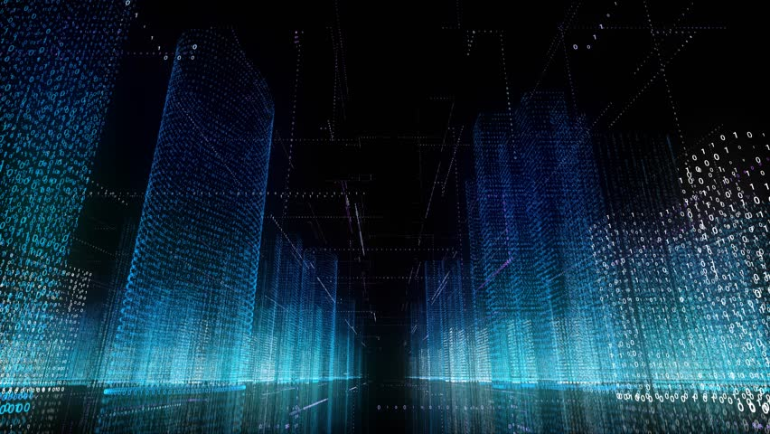 Future collection fly city space abstract infographics wireframe buildings background seamless looping