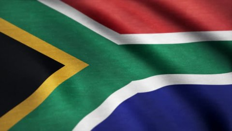 Flag of South Africa gently waving in the wind. South Africa Country flag animation stock footage