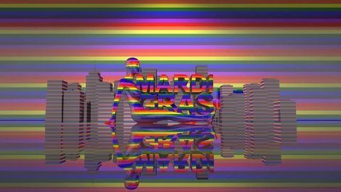 Mardi Gras Gay Pride LGBT Community graphic title 3D render. The letters LGBT & LGBTQIA refer to lesbian, gay, bisexual, transgender, queer or questioning,