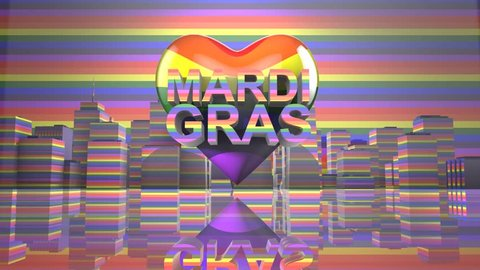 Mardi Gras Gay Pride LGBT Community graphic title 3D render. The letters LGBT & LGBTQIA refer to lesbian, gay, bisexual, transgender, queer or questioning, intersex, and asexual or allied.
