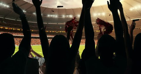 Fans clapping hands to cheer their favorite sports team on the stands of the professional stadium while the sun shines. Stadium is made in 3D and animated.