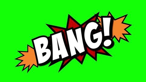 A comic strip speech cartoon animation with an explosion shape. Words: Bang, Boom, Zzap. White text, red and yellow spikes, green background.