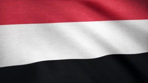 Flag of Yemen animation. Yemen flag waving on wind