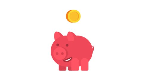 Piggy bank runs, stops and coins falling into it. Alpha channel. Motion Graphics. 2D Animation.