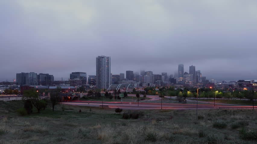 Denver Skyline in Fog at Sunrise Time Lapse