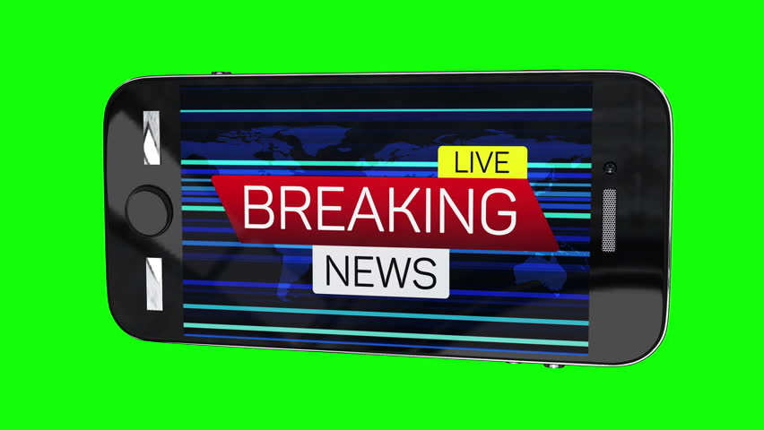 Smartphone with breaking news live motion banner on worldmap. Business technology world news background splash screen. Available in 4K FullHD and HD video render footage.