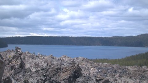Footage from the obsidian flows looking at Paulina Lake.