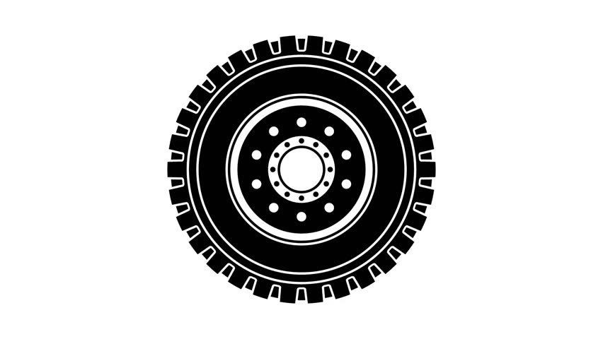 rotating truck wheel black symbol seamless loop