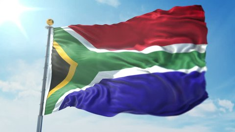 South Africa flag seamless looping 3D rendering video. 3in1:Includes isolated on green screen and alpha channel as luma matte for easy clipping in AE. Beautiful textile cloth fabric loop waving