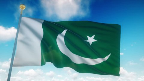 Pakistan Flag Waving 3D Rendering Blue Sky Background - Seamless Loop 4K
