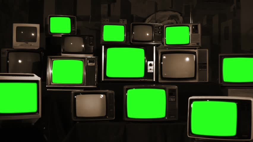 "Stack of Retro TVs Turning On Green Screen. Sepia Tone. Zoom In. You can Replace Green Screen with the Footage or Picture you Want with ""Keying"" effect in After Effects (check out tutorials). 