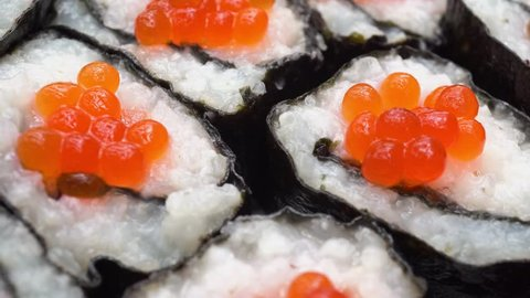 4k Rotation Japanese Rolls With Red Caviar
