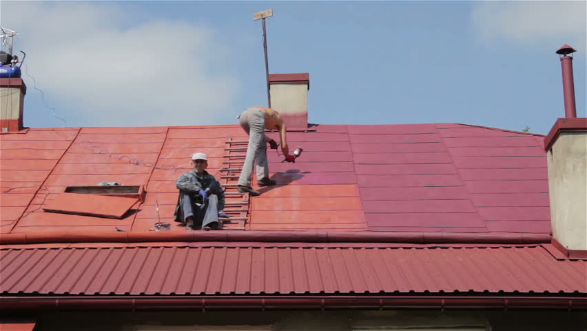 Two people painting a roof,painted the roof of two men in a violet color