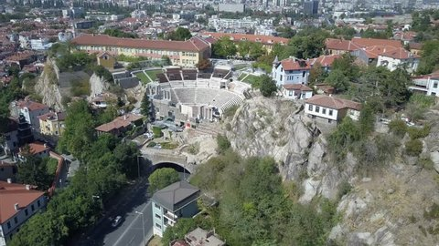 Aerial view of Bulgarian town f Plovdiv