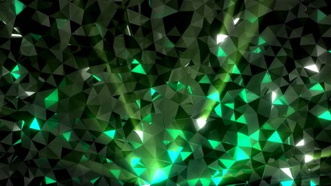 Low-poly green crystal dark waving surface with glowing light. 3D abstract background. Seamlessly looping video