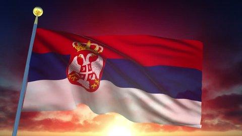 Serbia Flag at Sunset - 25 fps - Loop Animation