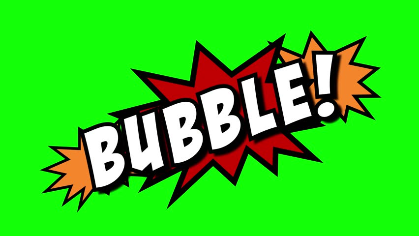 A comic strip speech cartoon animation with an explosion shape. Words: mumble, bubble, rumble. White text, red and yellow spikes, green background.