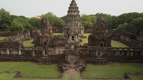 Drone shot of Phimai largest Khmer temples of Thailand Prasat Hin Historical Park. Nakhon Ratchasima Province