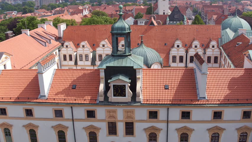 Celle, Germany - 07-29-2016: Aerial view of castle showing courtyard
