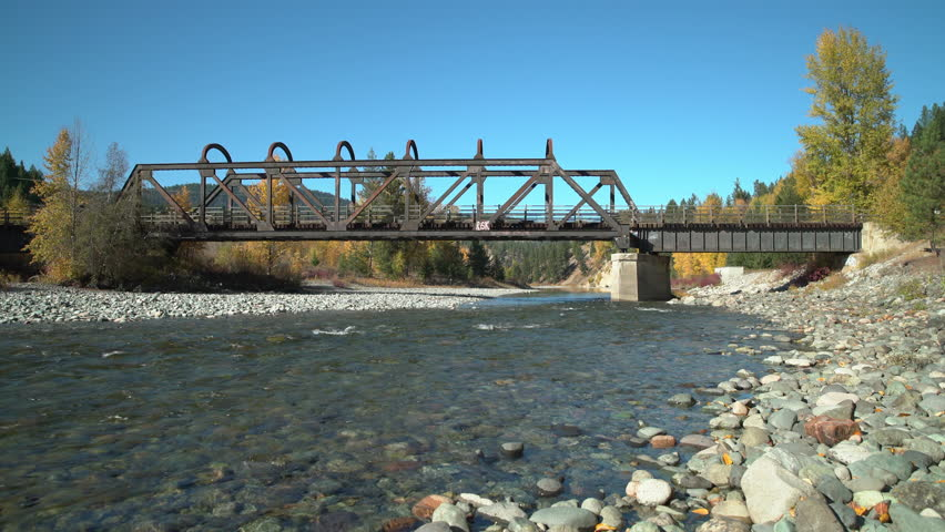 Kettle Valley Rail Bridge, Princeton BC dolly shot 4K UHD. The historic Kettle Valley Rail Bridge #6 over the Tulameen River. Now part of the Trans Canada Trail system. Princeton BC.