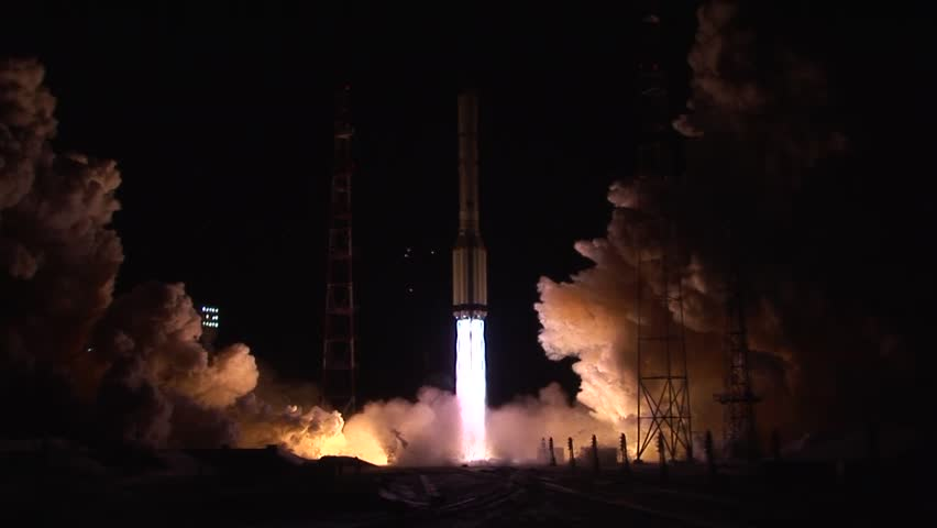 Proton rocket launch at night. Shot 2.