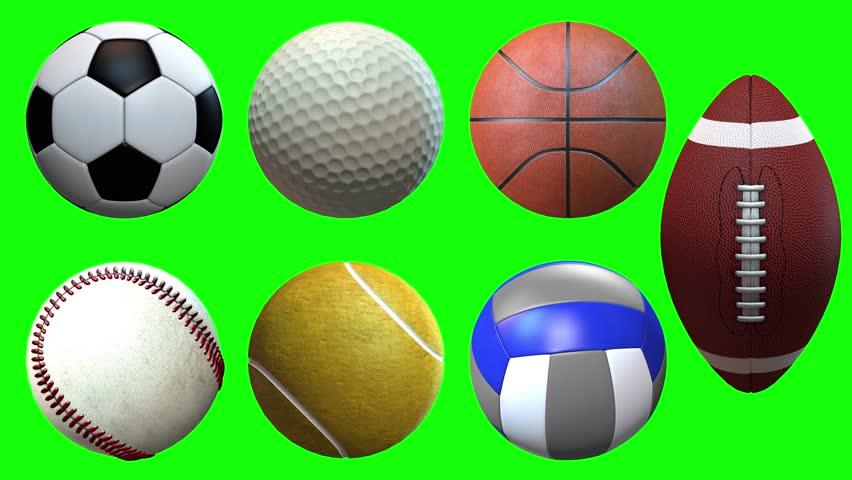 sport balls on green screen spin rotation