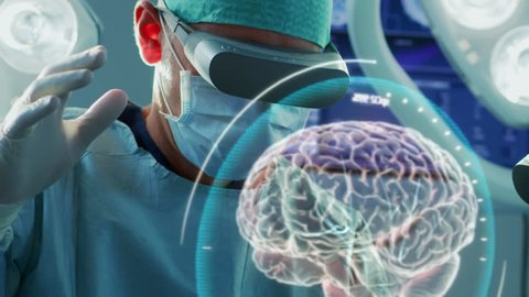 Surgeon Wearing Augmented Reality Glasses Perform Brain Surgery with Help of Animated 3D Brain Model, Using Gestures. Futuristic Theme. Close-up Shot. Shot on RED EPIC-W 8K Helium Cinema Camera.