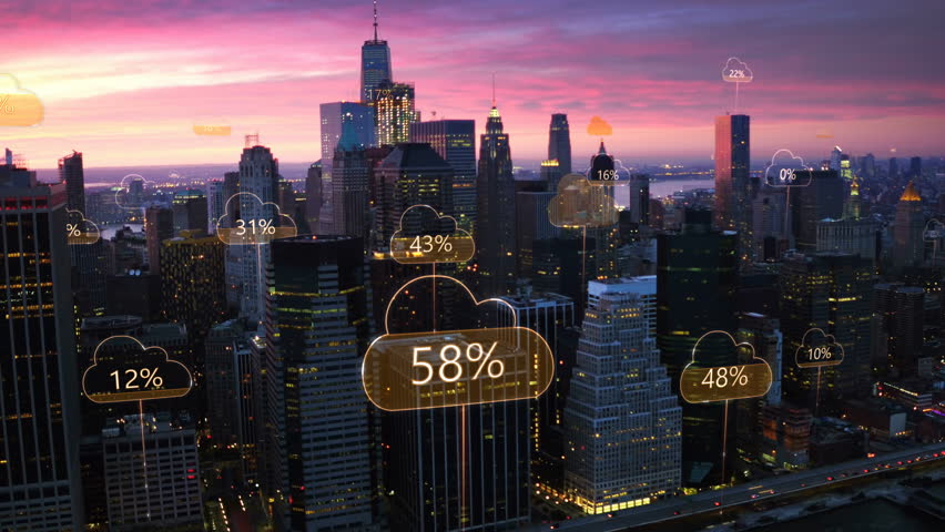 Aerial smart city. Network connections and cloud computing icons with percentages. Technology concept, data communication, artificial intelligence, internet of things. New York City skyline. | Shutterstock HD Video #1012287971