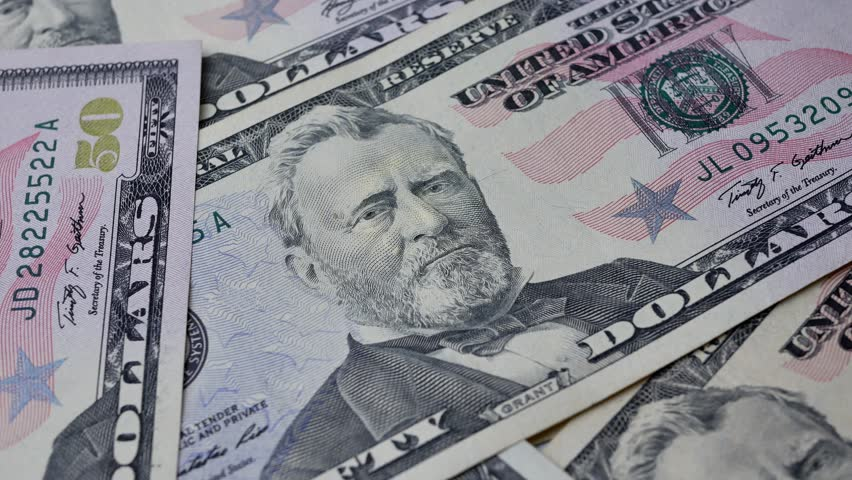 The United States fifty dollar bills with portrait The 18th U.S. President Ulysses S. Grant on money banknote | Shutterstock HD Video #1012304201