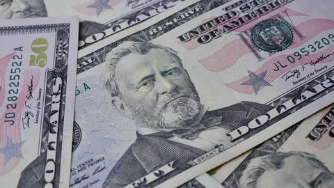The United States fifty dollar bills with portrait The 18th U.S. President Ulysses S. Grant on money banknote