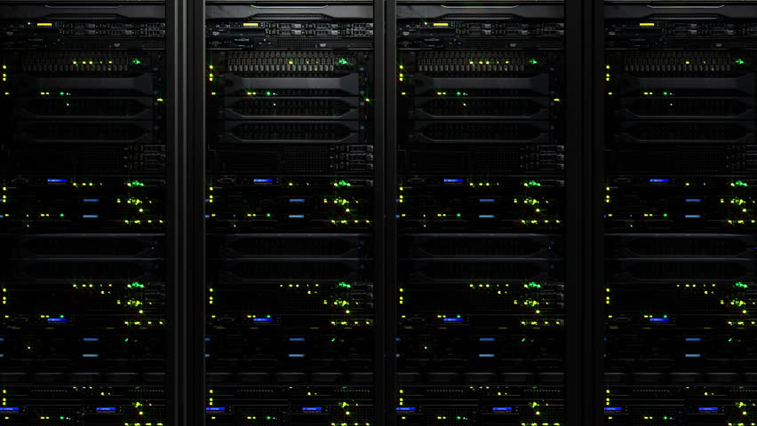 3D rendering of dark modern working data servers with flashing LED lights. Data servers loopable animation #1012306961